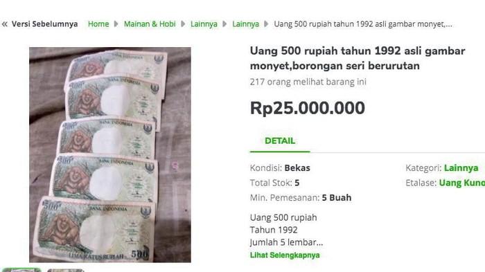 Harga uang rupiah gopek alias Rp 500 di toko online dijual hingga Rp 25 juta