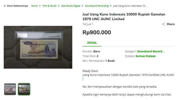 Harga uang rupiah nggak laku yang dijual di toko online