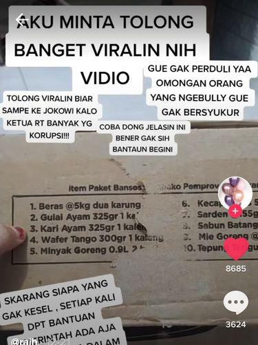 Isi Paket Sembako Tak Sesuai Catatan, Wanita Ini Berharap Videonya Viral