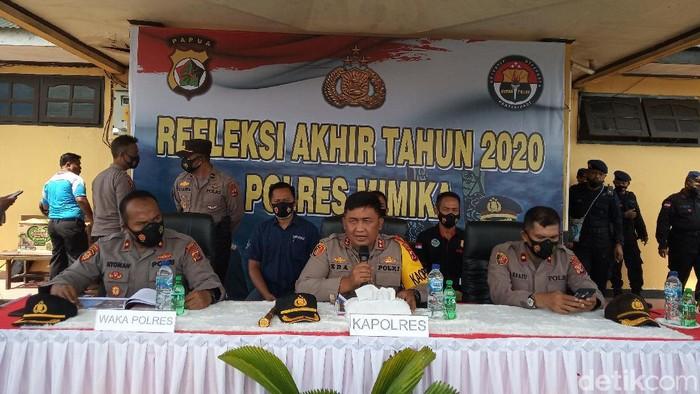 Polres Mimika mengungkap penembakan oleh KKB pada 2020 mengalami peningkatan karena sejumlah KKB bergabung dan melakukan teror bersama (Saiman/detikcom)