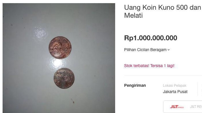 Uang logam Rp 500 gambar melati dijual hingga Rp 1 miliar di toko online