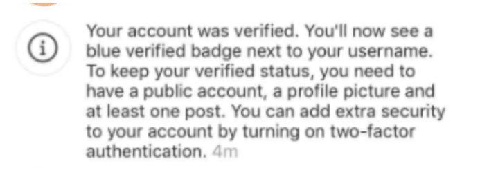 Notifikasi setelah mengajukan verifikasi akun di Instagram.