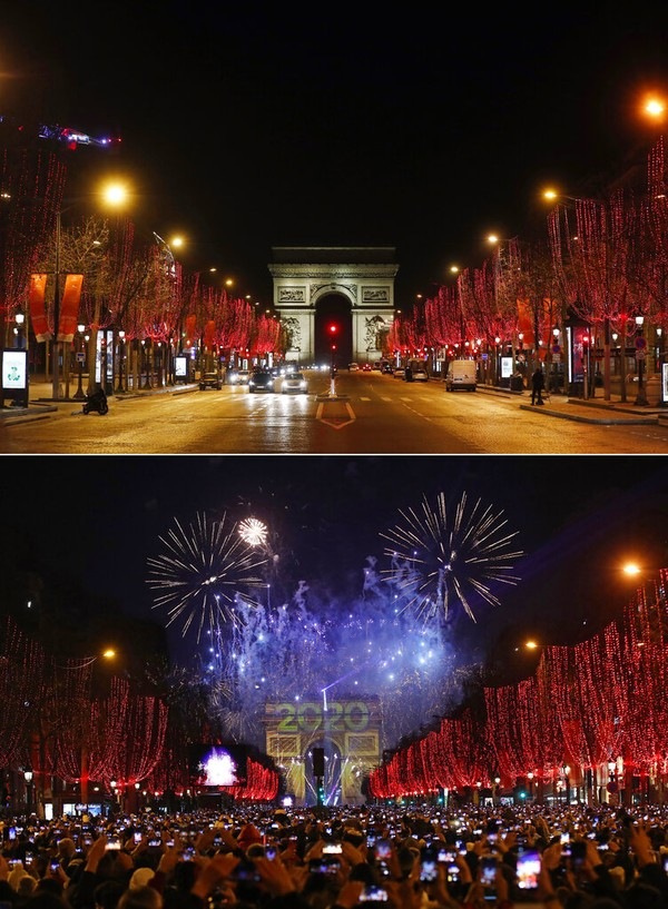 Kolase yang menunjukkan pemandangan umum jalan Champs Elysees di Paris pada Hari Tahun Baru Jumat (1/12021), dan di lokasi yang sama namun penuh dengan orang yang bersuka ria pada hari Selasa (1/1/2020). AP Photo/Thibault Camus, Christophe Ena