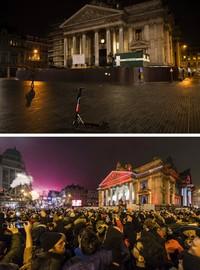 Dua gambar yang menunjukkan pusat bersejarah yang kosong di Brussel pada Kamis (31/12/2020), dan di lokasi yang sama namun penuh dengan orang-orang yang bersuka ria merayakan Tahun Baru pada Minggu (1/1/2017). AP Photo/Francisco Seco and Geert Vanden Wijngaert