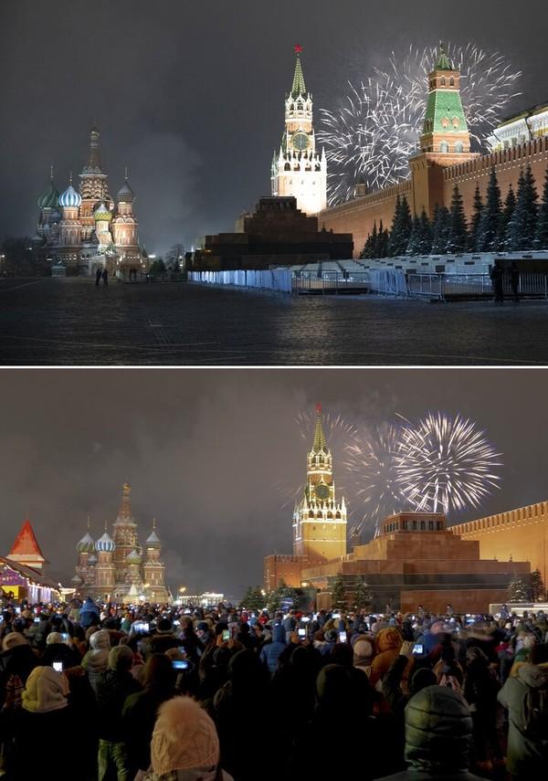 Kolase ini menunjukkan kembang api yangmenghiasi langit Kremlin dan Menara Spasskaya dengan Katedral St. Basil di sebelah kiri di Lapangan Merah yang hampir kosong selama perayaan Tahun Baru di Moskow, Rusia, Kamis (31/12/2020) dan di bawahnya, sebuah file foto diambil dari sudut yang sama selama perayaan Tahun Baru pada (31/12/2019). AP Photo/Pavel Golovkin, Denis Tyrin