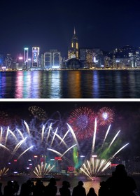 Kolase ini menunjukkan pemandangan umum Pelabuhan Victoria pada Malam Tahun Baru tahun 2021 di Hong Kong , dan foto bawah menunjukkan Malam Tahun Baru tahun 2019. AP Photo/Kin Cheung