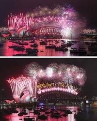 Di Gedung Opera Sydney, Australia, kembang api tetap dinyalakan dengan meriah pada Jumat (1/1/2021) sama halnya dengan kembang api yang dinyalakan pada Kamis (1/1/2015). Namun tahun 2021 ini warga dilarang menontonnya secara langsung dan dihimbau menyaksikannya lewat televisi. AP Photo/Mark Baker, Rob Griffith