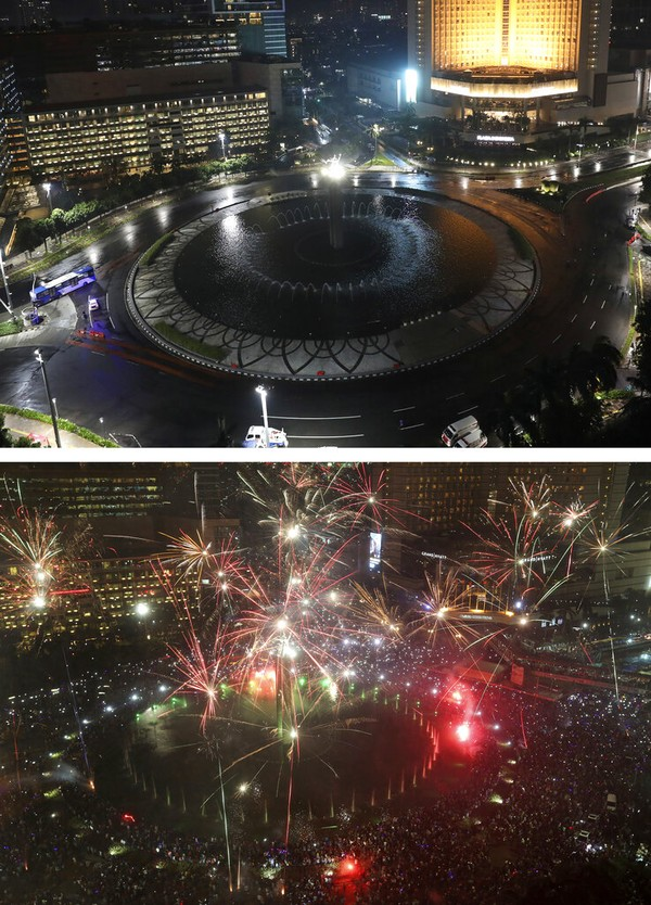 Gambar kombo ini menunjukkan sepinya Bundaran Hotel Indonesia di Jakarta pada hari Kamis (31/12/2020). Sangat berbeda dengan perayaan malam Tahun Baru pada Sabtu (31/12/2016). AP Photo/Dita Alangkara, Tatan Syuflana