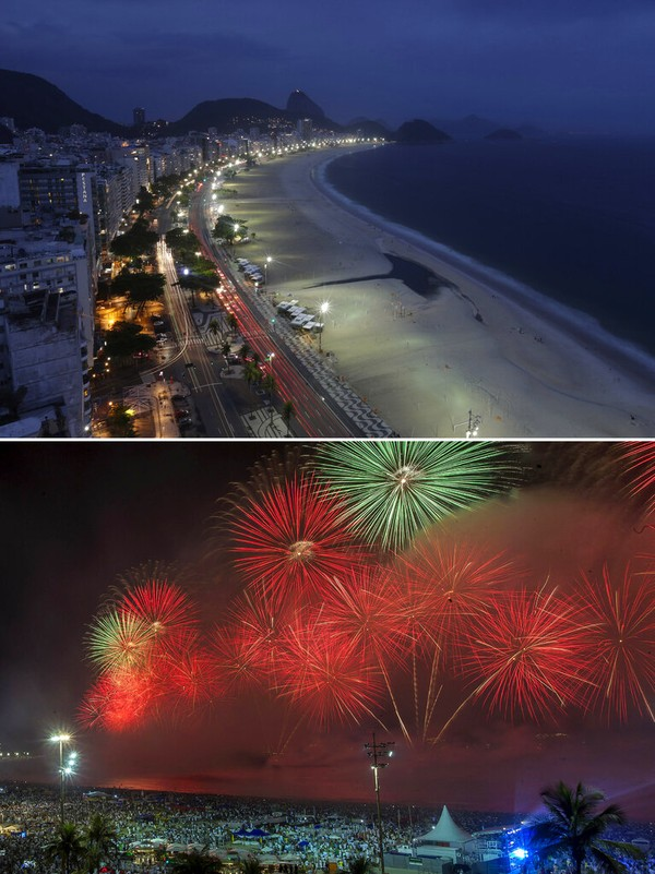 Dua foto ini menunjukkan Pantai Copacabana yang kosong di tengah penutupan pandemi COVID-19 di Rio de Janeiro, Brasil, Kamis(31/12/2020) waktu setempat. Sangat kontras dengan satu tahun sebelumnya, pada 1 Januari 2020, ketika kerumunan orang menonton kembang api pada Tahun Baru di lokasi yang sama. AP Photo/Bruna Prado