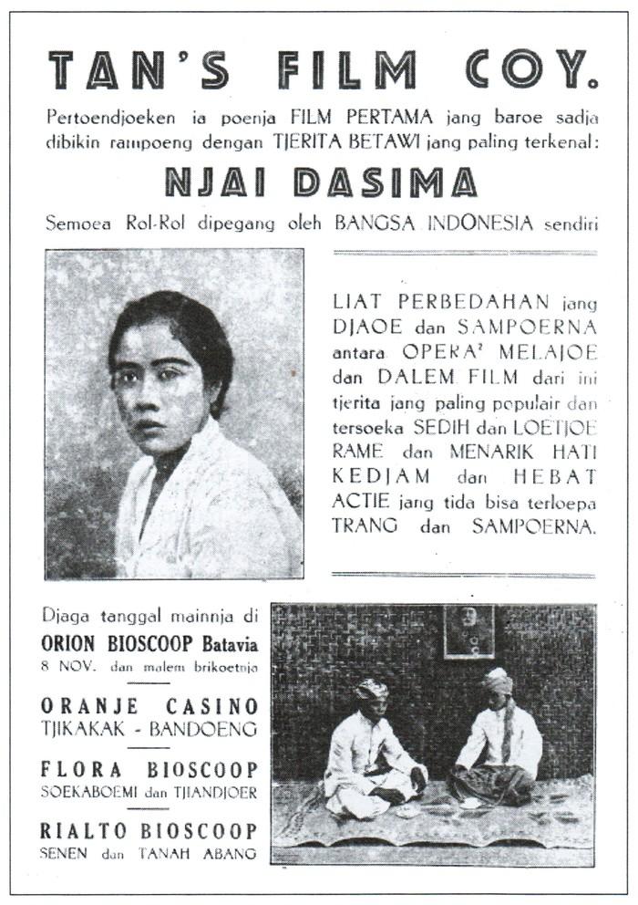 Poster Film Njai Dasima rilisan tahun 1929. (Public Domain/Biran, Misbach Yusa dalam Sejarah Film 1900-1950/Wikimedia Commons)