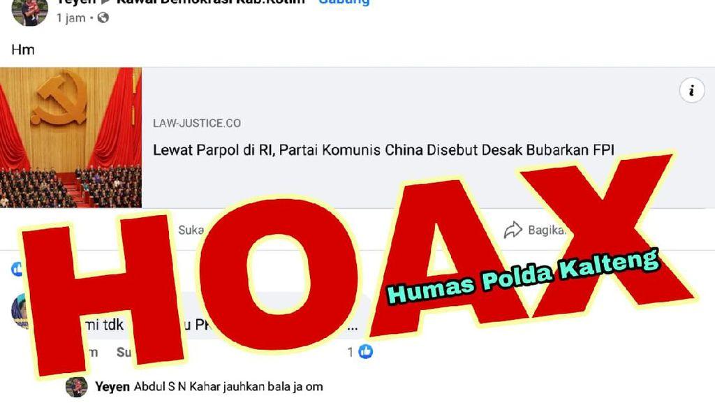 Sumber Awal Hoax Komunis China Desak FPI Bubar Tak Terdaftar Dewan Pers