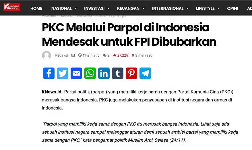 Waktu unggah hoax 'PKC-FPI Bubar' di law-justice dan keuangannews. (Tangkapan layar)