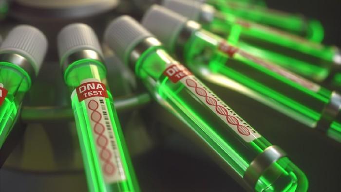 3D illustration. Genetic test in test tube.