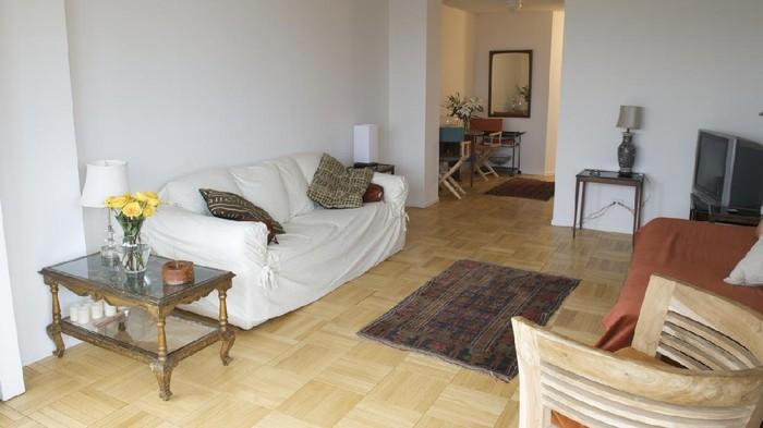 Large L-shaped corner sofa in living room furniture show home