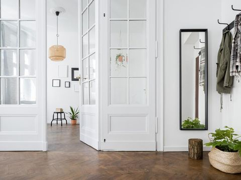 Spacious and stylish home interior with old glass door and wooden parquet