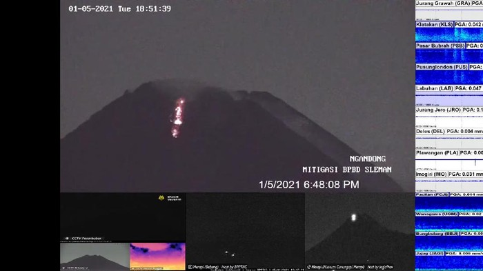 Gunung Merapi kembali gugurkan lava pijar, Selasa (5/1/2021) pukul 18.47 WIB.