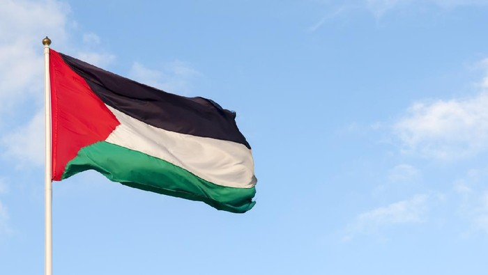 Palestinian flag and sky. Photo taken in the West Bank.