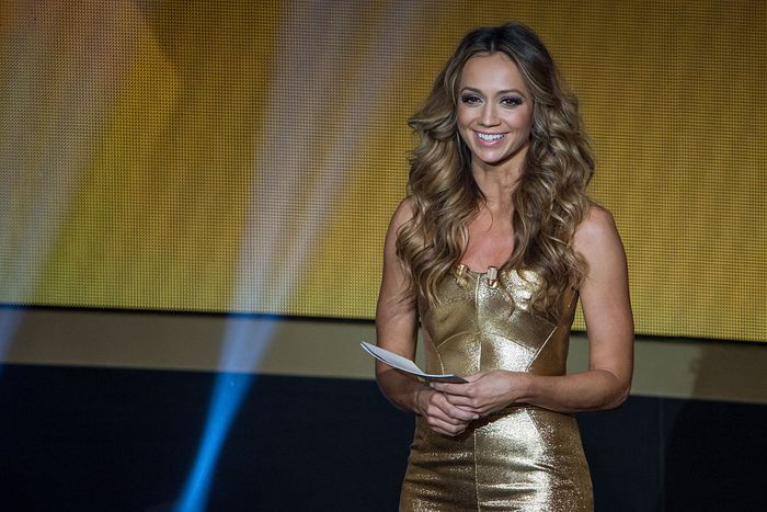 ZURICH, SWITZERLAND - JANUARY 12: Presenter Kate Abdo smiles during the FIFA Ballon dOr Gala 2014 at the Kongresshaus on January 12, 2015 in Zurich, Switzerland. (Photo by Philipp Schmidli/Getty Images)