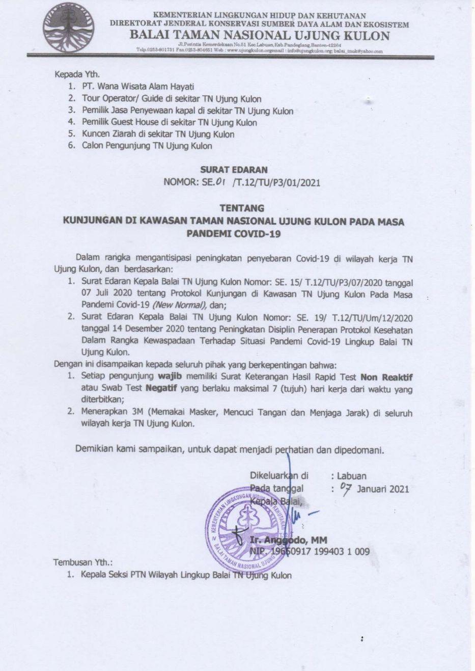 Surat edaran terbaru dari pihak Balai TNUK.