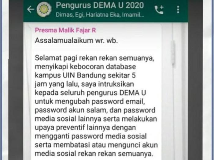 Data Mahasiswa UIN Bandung Bocor