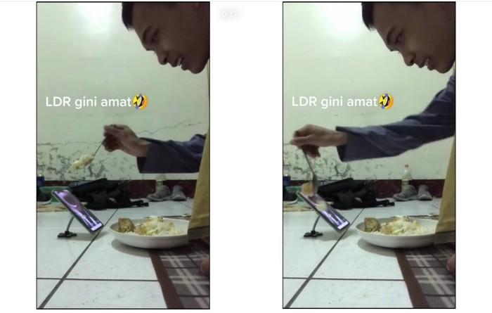 Duh! Saling Suap via Video Call, Pasangan LDR Ini Buang-buang Nasi
