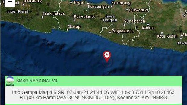Gempa magnitudo (M) 4,6 di barat daya Kabupaten Gunungkidul, Daerah Istimewa Yogyakarta (DIY), Kamis (7/1/2021) pukul 21.44 WIB.