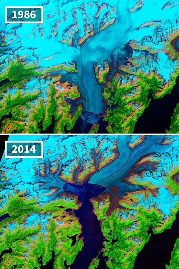 Terlihat Gletser Columbia yang meleh dari tahun ke tahun di Colombia.