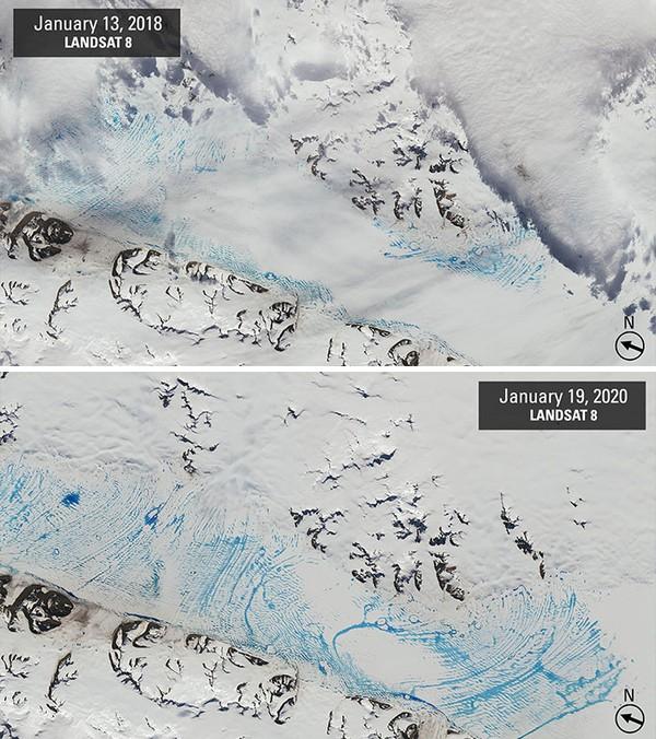 Rekaman kumpulan melelehnya lapisan es di George Vi, Antartika.