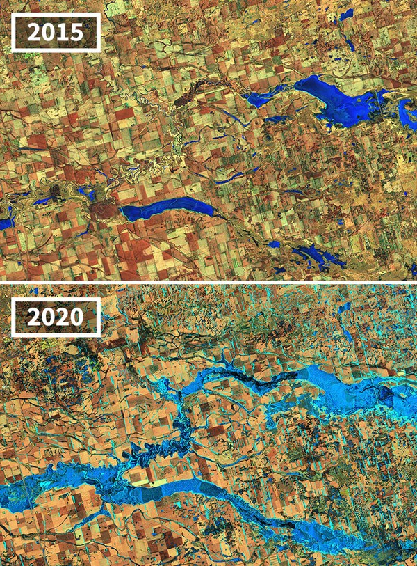 Banjir dalam 5 tahun semakin meluas di Sungai James, South Dakota.