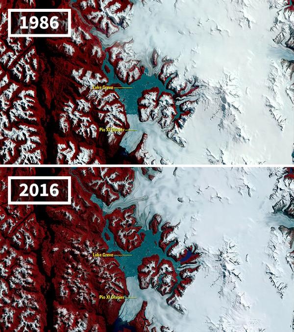 Walau banyak gletser yang mengering, add gletser yang mengalami kenaikan volume yaitu Gletser Brüggen (juga dikenal sebagai Gletser Pio XI).