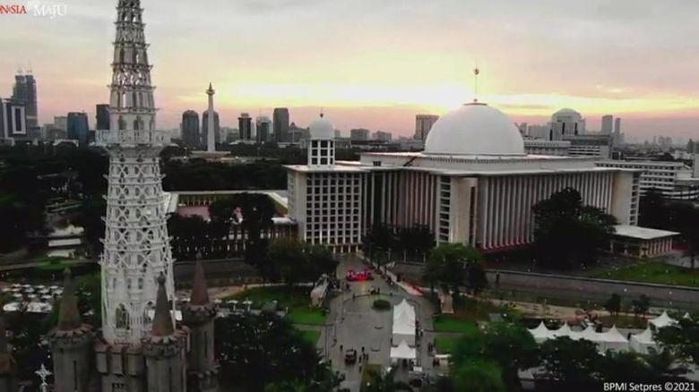 Potret udara Masjid Istiqlal, Jakarta.