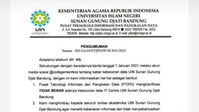 UIN Bandung membantah data mahasiswanya bocor