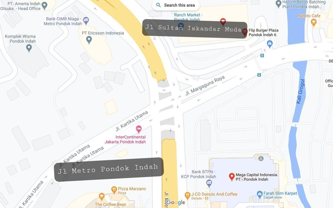 Posisi Jl Metro Pondok Indah dan Jl Sultan Iskandar Muda di perempatan Pondok Indah Mall atau PIM. (Repro Google Maps)