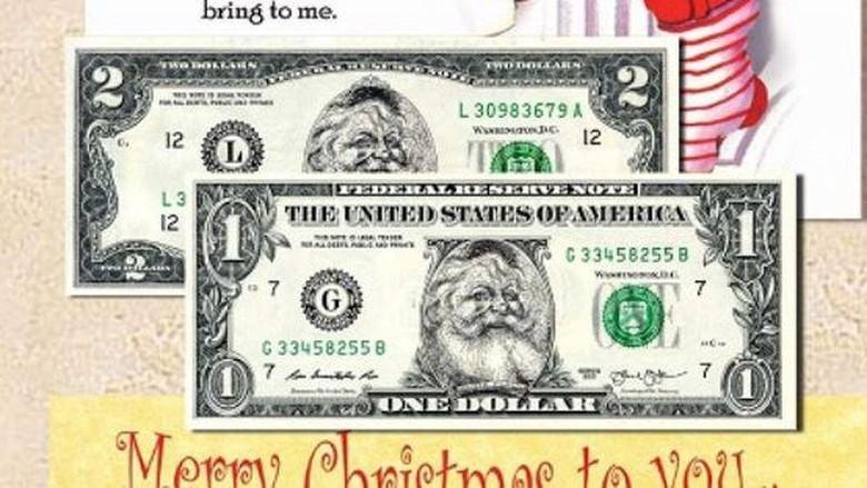 Uang Dollar bergambar Sinterklas