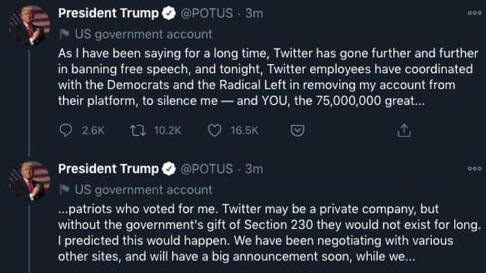 Setelah mengetahui akun @realDonaldTrump diblokir permanen oleh Twitter, Presiden AS Donald Trump rupanya masih tetap mencuit dengan memanfaatkan akun resmi presiden @POTUS.