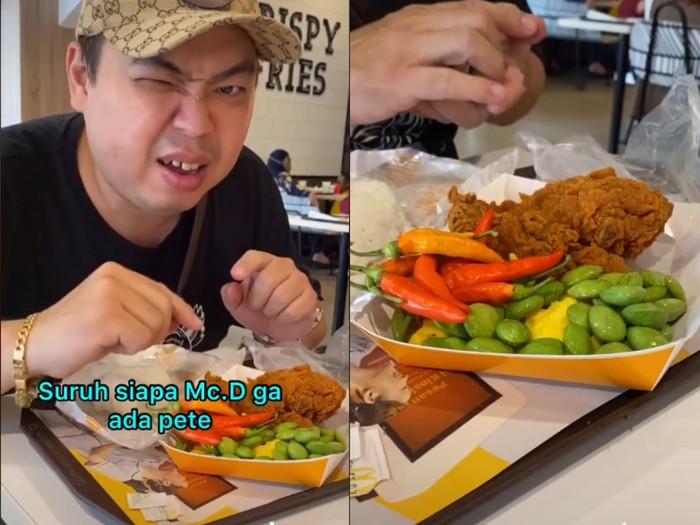 Indonesia Banget, Pria Ini Bawa Pete dan Cabe Rawit saat Makan di McD