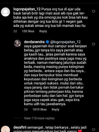 balasan Devano Danendra pada netizen yang julid pada Iis Dahlia