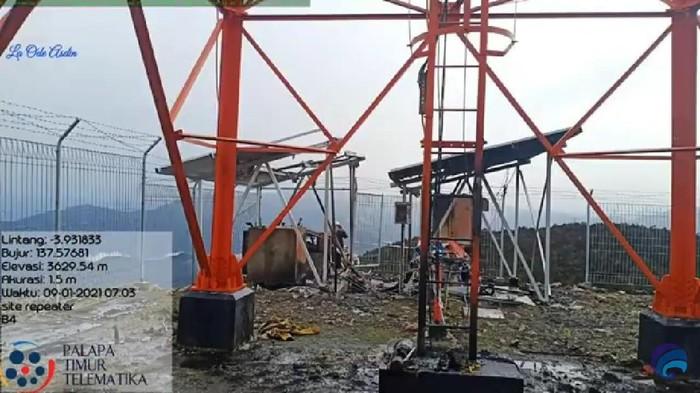 Dua BTS di Kabupaten Puncak, Papua, dibakar. Pelaku diduga kelompok kriminal bersenjata (KKB) (dok Kominfo)