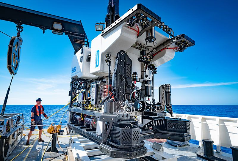 The remotely operated vehicle Deep Discoverer being recovered after completing 19 dives during the Windows to the Deep 2019 expedition. Image courtesy of Art Howard, Global Foundation for Ocean Exploration.