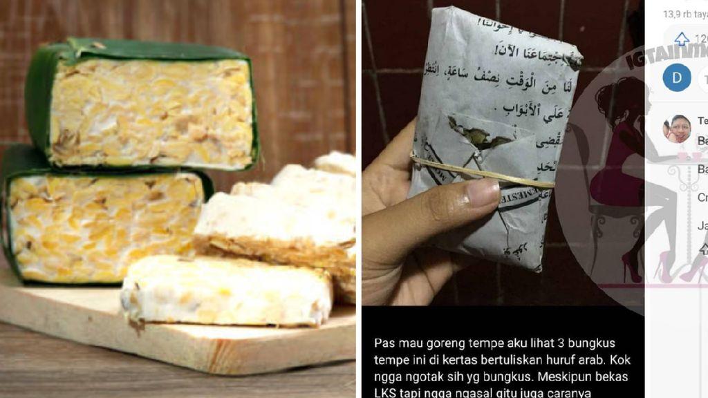 Tempe Dibungkus Kertas Bertuliskan Arab Ini Picu Perdebatan