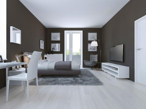 View of spacious hotel room in taupe. 3D render