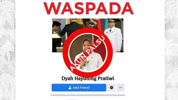 Akun Facebook catut nama Bupati Purbalingga Dyah Hayuning Pratiwi, Selasa (12/1/2021).