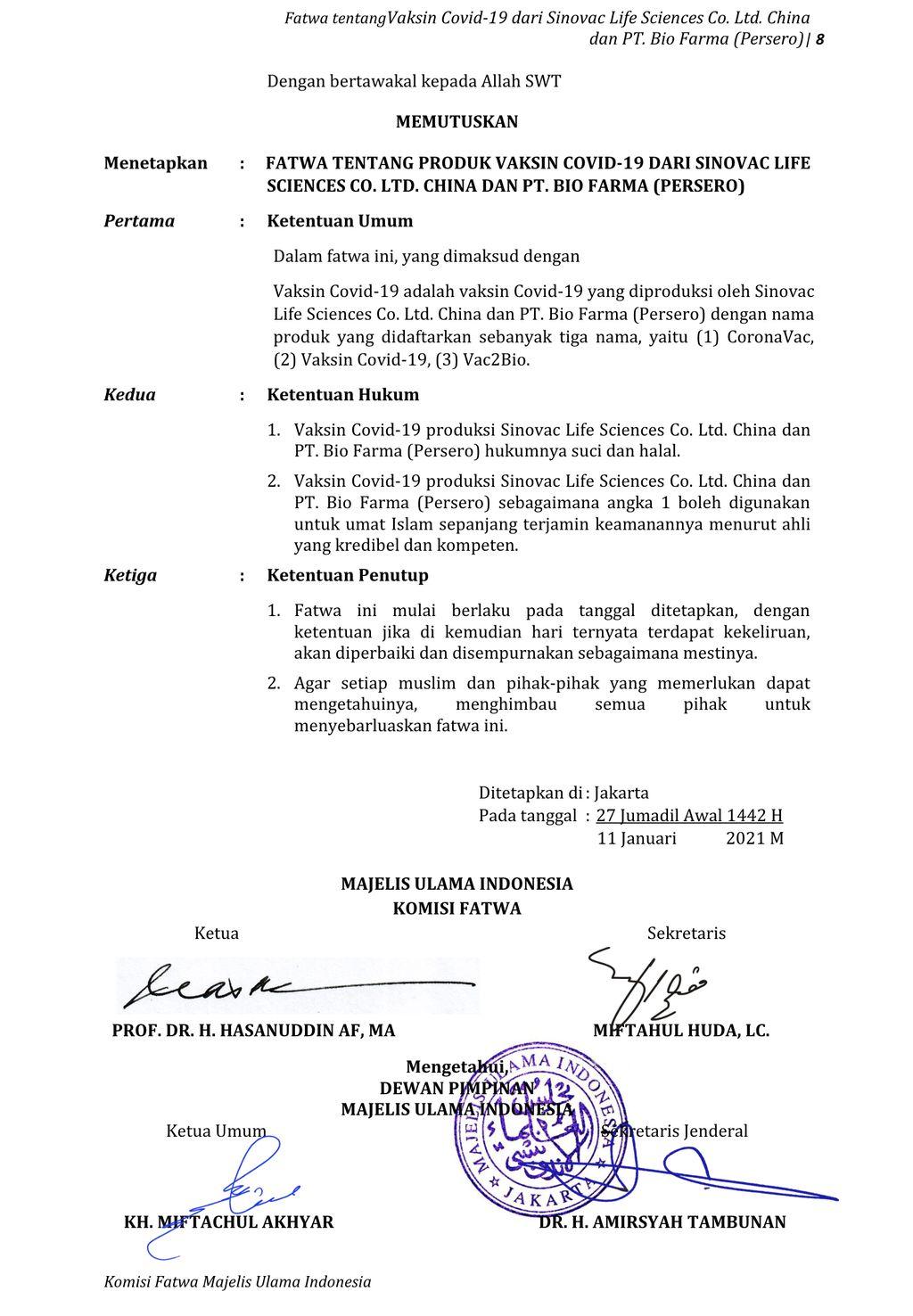 Fatwa MUI mengenai vaksin Covid-19 produksi Sinovac dan Biofarma
