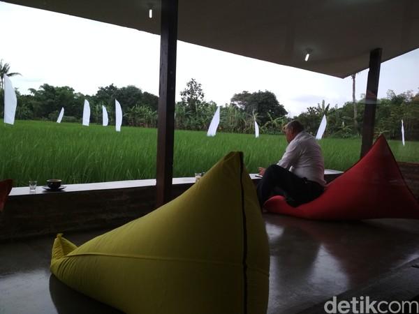 Pengunjung akan dimanjakan dengan semilir angin dan segarnya tanaman padi.