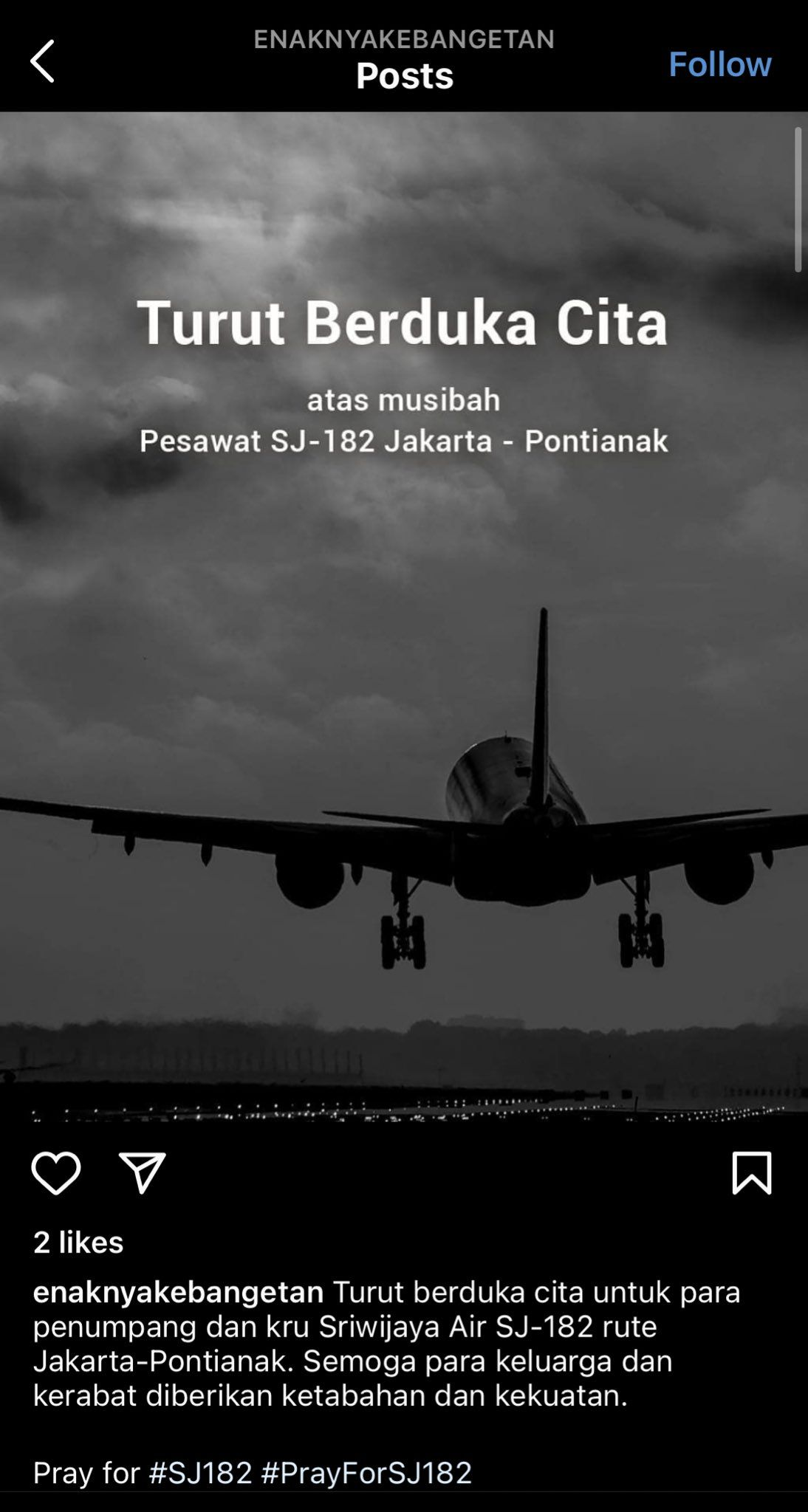 Ucapan Duka Sriwijaya Air SJ 182 Dikecam Gegara Tagline 'Enaknya Kebangetan'