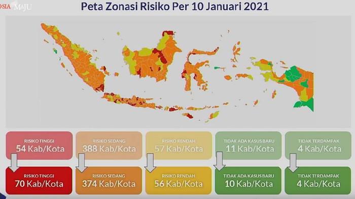 Peta zonasi Corona per 10 Januari 2021.