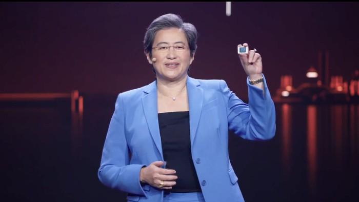CEO AMD Lisa Su saat memperkenalkan AMD Ryzen 5000 mobile.