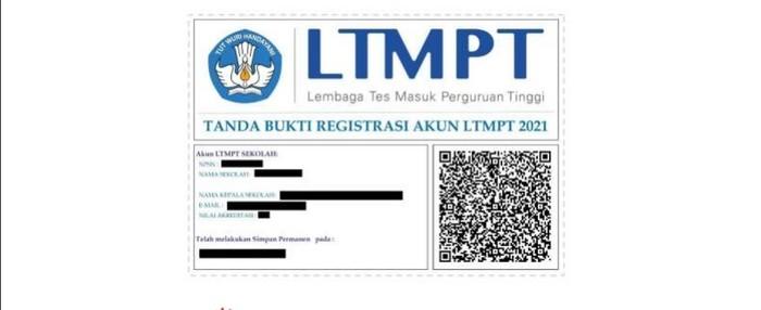 bukti permanen usai cek verifiaksi akun SNMPTN 2021 sekolah