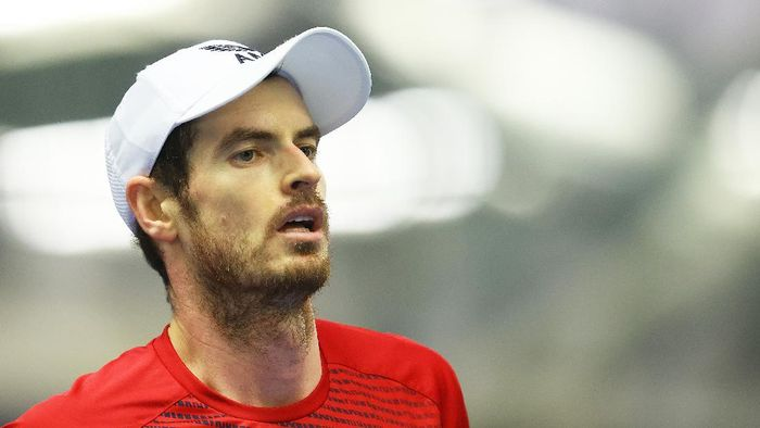 LONDON, ENGLAND - DECEMBER 22: Andy Murray looks on during their round robin match against Cameron Norrie during Day Three of the Battle of the Brits Premier League of Tennis at the National Tennis Centre on December 22, 2020 in London, England. (Photo by Julian Finney/Getty Images for LTA)