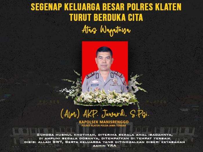 Kapolsek Manisrenggo Klaten AKP Juwardi meninggal dunia, Jumat (15/1/2021)